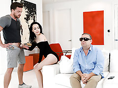 Bambi Dark-hued and her stepbrother are such supreme caretakers. Bambi sucks her stepbros curved cock with verve and vigor before proceeding to rail him rambunctiously on the sofa next to their sightless dad. As she takes her stepbros dick, in her tight,