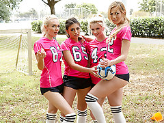 Ricky and Kyle film the girl's soccer crew practice.  When the damsels notice they invite them to hang out and the damsels begin showcasing them their arses and begin twerking.  Aspen and Riley desired to hang out more and they fellows don't hesitate to e