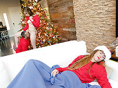 Niki Snow and her family all fell asleep together in bed because they were so sexually aroused for xmas! At sunrise Niki and her Stepparent were prepped for breakfast and gifts, but mommy was being a grinch who just wished to sleep. This didn't stop them