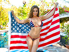 Glad Fourth of July, Skeeters! This yr we are lucky enough to spend the day with the big-titted and bubbly Lena Paul who has slew ideas of how we can have the finest damn 4th ever. Everything she does is in a tiny little swimsuit that is no match for her