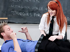 Youthfull lovely redheaded schoolgirl Krystal Orchid gets a uber-cute stiff fuckfest from her drama schoolteacher after helping her out on a schools rendition of Romeo and Juliet.