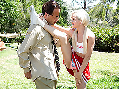Marvelous blondie cheerleader nymph Elsa Fantasy gets her cooch pounded by her neighbor masters dick after practising on some cheering moves.