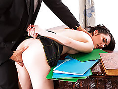 Beauteous spectacular college girl woman Cadence Carter gets pummeled inwards the Milky Building by a Secret Service man who caught her creeping around the premises