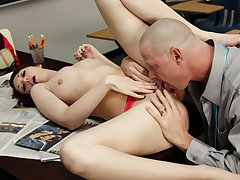 Splendid freshly enrolled red head student Alana Rains gives the principal her cock-squeezing moist beaver after having some college orientation